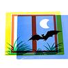 プラスマイナス(足したり引いたり):窓枠と草と月とコウモリ
