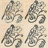 岩波少年文庫の装丁の歴史2(創刊時の4冊を観る):鳥と花のマークは4冊とも微妙に印象が異なる(左上から時計回りに、宝島、クリスマス・キャロル、ふたりのロッテ、小さい牛追い)