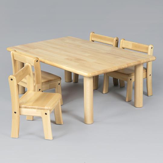 角テーブルW90×D60cm丸脚と椅子4脚セット