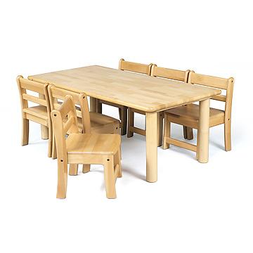 角テーブルW120×D60cm丸脚と椅子6脚セット角テーブル120×60丸脚43と幼児椅子26×6脚