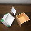 百町森ダイアモンド木箱:段ボールを折り曲げ、4枚つないでスペーサーにします。プラ板も4枚つなぎ両面テープを貼ります。