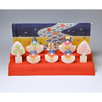 KH119/120 銀杏びな二段飾り特製垂幕(紺)