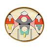 楕円びな七段飾り:1段め:親王、姫(黒線は丸棒収納箇所)