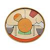 楕円びな七段飾り:7段め:御所車、籠(黒線は丸棒収納場所)