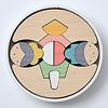 銀杏円びな五段飾り:紙製の円形容器に納めたところ(1段目)