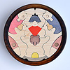 円武者三段飾り(メープル):2段目:金太郎とクマ