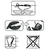 フットレスト:組立説明図。ベルトの通し方(上)、前輪に上からはめ込みます(中)、ベルトのバックルがフレームに当たらないよう注意(下)