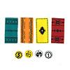 マラケシュ:4色の絨毯と貨幣(5ディルハムと1ディルハム)