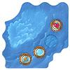 たこアラーム:丸い海チップ4枚は、海ボードの外側に並べます。内側の白っぽい船ゾーンを船が通ります。