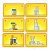 メイクンブレイクミニ:カードの例。灰色の積み木は色が自由に選べます。右上の数字は、得点を示します。