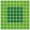 こぐまの帰り道:81枚のカードを並べます。 こぐまは森の深いところ(濃い緑色)に隠れています。