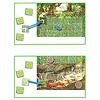 アミーゴバンデット:カードをめくり、道なら森に(上)、ドラゴンなら洞窟に(下)配置します。