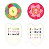 3×4は?パチリ!:下は36と12の裏面。かけ算は段で色分けされています。4の段は黄緑、6の段はピンク。