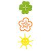 はじめてのゲーム 動物ピラミッド:サイコロの目は、クローバー、花、太陽