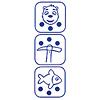 カヤナック:白サイコロは、移動(上)、穴あけ(中)、釣り(下)という行動を示します。