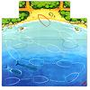 カルバ・ジュニア:ゲームボードには、海賊船の通り道がしるされた海と、カルバ島の海岸が描かれています。