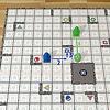 ハイパーロボット:他のロボットを障害物にする例:青のロボットを中央付近の土星のマスに移動するのが目的。先に緑のロボットを動かします(1)。それから青のロボットが移動します(2、3)。2手目で緑のロボットに当たっていることに注目。