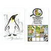 マニマルズ(動物博士):ペンギンカードの裏(右側)。下半分にペンギンの特徴(脚が2本、羽根がある、うろこがある、翼があるなど)がマークで示されています。上にある虫眼鏡の中の大きなマークは、ペンギンとは無関係の課題のマーク(巣穴もしくは洞窟に住む)です。