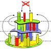 ヴィラ・パレッティ:手番プレーヤーは、自分の色の柱を取って、一番上のフロアに乗せますが、最上階の柱を使うことはできません。