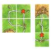 カルカソンヌ(日本語版):得点計算2:完成した道路はタイル1枚につき、1ポイント。左は4ポイント、右は3ポイント。