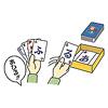 ワードバスケット:「あひる」と言いながら「る」を出していますが、この手札の場合、「アラブ」と言いながら「ふ」を出したり、「握力測定」と言いながら「7+(7文字以上)」を出したり、「揚げ物」と言いながら「な行ワイルド」を出すこともできます。