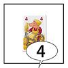 日本語版ぴっぐテン:最初のプレーヤーは、4のカードを出して、「4」と言います。