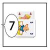 日本語版ぴっぐテン:2番目のプレーヤーは3を出して、前のプレーヤーが言った数字(4)に自分のカードの数字(3)を加えて「7」と言います。