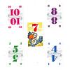 ハゲタカのえじき:プラス7のハゲタカカードを取る場合:一番大きい数字カードを出した人(この場合10を出した赤)がハゲタカカードをもらいます。