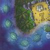 ウミガメの島:裏面は夜の風景です。