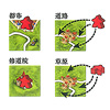 カルカソンヌJ(日本語版):自分が配置したタイルに自分のコマを置くことができる。例えば、都市の中(左上)や、街道(右上)、修道院(左下)、草原(右下)など