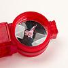 オプティックワンダー 赤:観察トレイ。ルーペは2倍、底は鏡面。