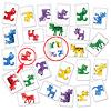 動物さがし:中央(動物が4匹描いてある)が読み札に相当。この場合、「紫」がなく、「豚」がいないので、「紫の豚」を取る。