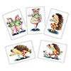 コブタの体操ゲーム:カードには色んなポーズが。左上のカードのように1枚に2つのポーズが描いてある場合、交互に繰り返します。