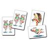 コブタの体操ゲーム:全く同じカードが2枚ずつあり、片方は取り札にもう片方は読み札(読みませんが)に相当します。