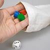 クイップス:ルール1:数サイコロの数だけ、袋の中からコマを取ります。