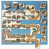 コンタクトゲーム:道路、線路、川がきれいにつながるようにタイルを置きます。