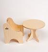 N人形用いす(白木):人形用テーブルとの組み合わせ