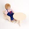 N人形用いす(白木):ジルケ人形(大)と