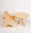 N人形用テーブル(白木):人形用椅子との組み合わせ