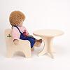 N人形用テーブル(白木):ジルケ人形(大)と