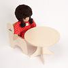 N人形用テーブル(白木):ジルケ人形(小)と
