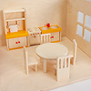 13193 バルコニー付きの家 赤(床赤):リュルケ社の家具を入れたイメージ(人形や家具などの小物は参考品です)